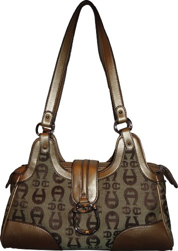 Etienne Aigner Purse Handbag Logan Collection Camel/Gold Signature Print