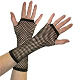 Long Fishnet Fingerless Gloves - Black