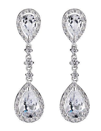 Cubic Zirconia and Sterling Silver Oval Hanging Drop Earrings