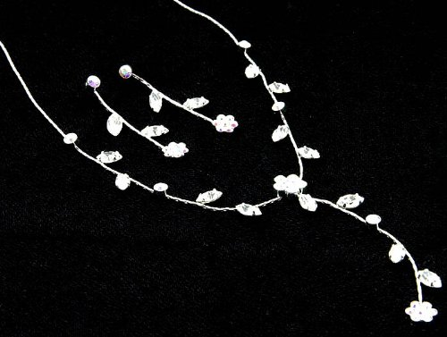 NECKLACE AND EARRING SET METAL CRYSTAL STONE AURORE BOREALE Fashion Jewelry Costume Jewelry fashion accessory Beautiful Charms