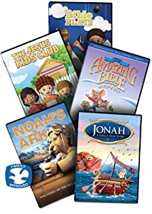 The Animated Kids Bible Collection 5 Childrens Christian Dvd Movies Includes The Jesus Kids Club Activity Lesson Included Noahs Ark Dvd The Amazing Bible Series - This Contains 3 Dvds Jonah - The Great Fish Story Bible Plays Volume 1 Contains 4 Short Anim