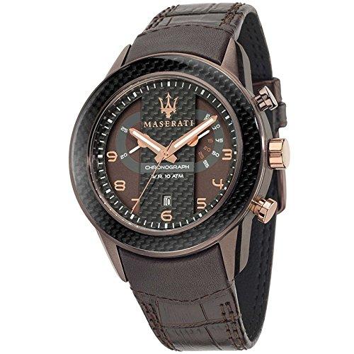 MASERATI CORSA Collection - R8871610003 - Reloj de caballero analógico (Sumergible, Crono, Calendario) Acero y Fibra de carbono
