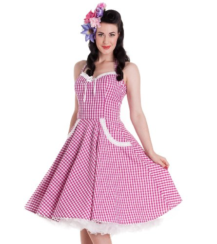 Hell Bunny Pink Charlotte Dress S - UK 10 / EU 38