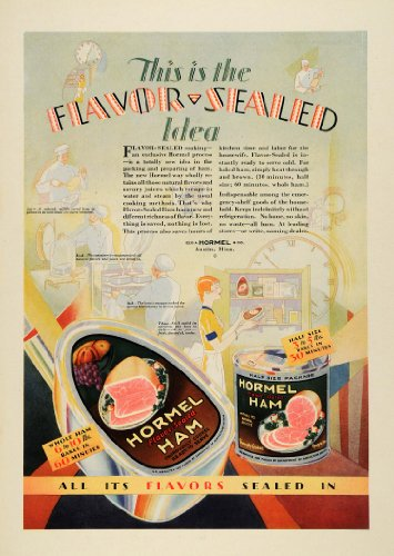 1929-ad-george-hormel-flavor-sealed-ham-meat-canned-tins-austin-minnesota-chefs-original-print-ad