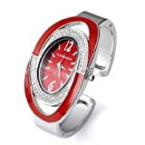 Fashion Womens Silver-tone Crystal Oval Quartz wrist watches for women Cuff Bangle Bracelet