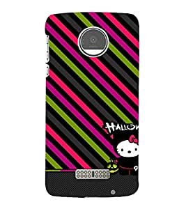 animated halloween case with slanting stripes 3D Hard Polycarbonate Designer Back Case Cover for Motorola Moto Z::Motorola Moto Z Droid