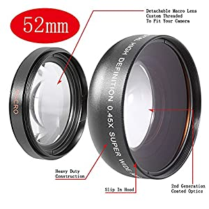 Neewer 0.45X 52Mm Wide Angle Lens With Macro For For Nikon D90, D300, D300S, D3, D3X, D5000, D3100, D3000, D80, D100, D200, D40, D40X, D50, D60, D70, D700, D7000, 18-55Mm F/3.5-5.6G Ed Ii Af-S Dx