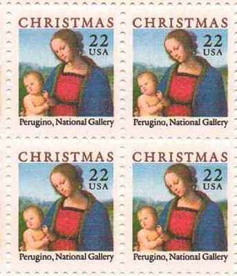 Christmas Perugino Madonna Set of 4 x 22 Cent US Postage Stamps NEW Scot 2244