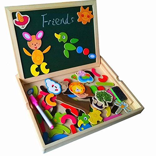 Educativi Lavagnetta Magnetica Realizzata in Legno Gioco Giocattolo di Puzzle per Bambini 3 Anni