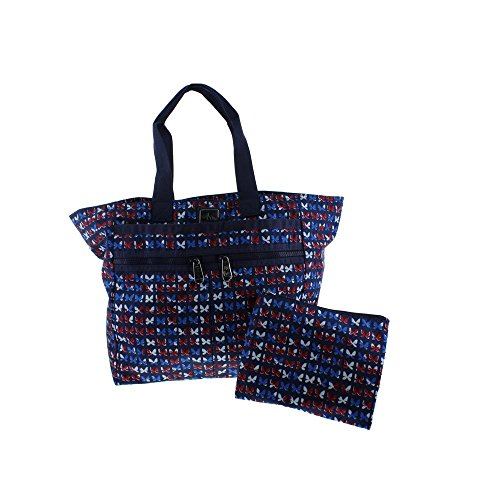 Brighton Womens Lock-It Printed Logo Tote Handbag Navy Extra Large
