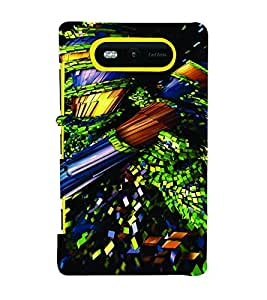 PrintVisa Corporate Print & Pattern Modern Art 3D Hard Polycarbonate Designer Back Case Cover for Nokia Lumia 820