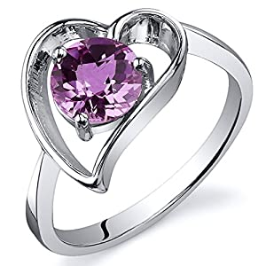Created Pink Sapphire Heart Ring Sterling Silver Rhodium Nickel Finish 1.00 Carats Size 5