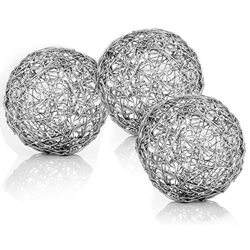 Modern Day Accents Guita Wire Spheres, 3-Inch Diameter, Box of 3