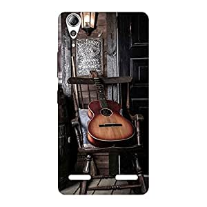 Impressive Old Guitar On Chair Back Case Cover for Lenovo A6000