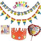 SARA STORE お誕生日会を素敵に演出 ハッピーバースデー 誕生日会 セット レターバナー  フラッグガーランド 壁飾り 王冠 レッド
