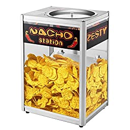 Great Northern Commercial Grade Nacho Chip Warming Tray Station, Black
