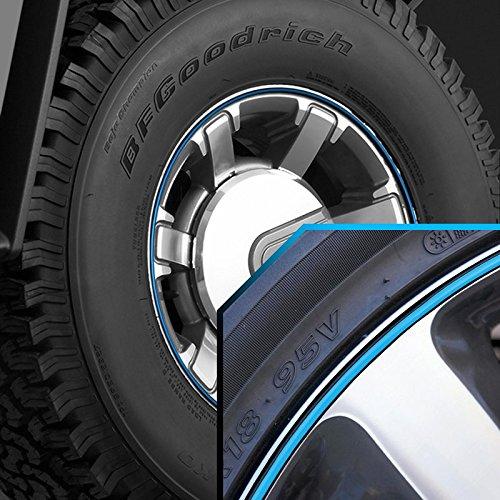 Wheel Bands Sky Blue in Black Pinstripe Edge Trim for Hummer H3 13-22