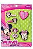 Disney Minnie Mouse Necklace Jewelry Gift Set with Large Minnie Pendant & Dangle Earrings