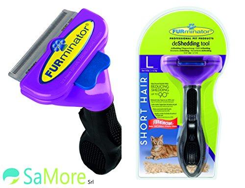 FURminator L pettine spazzola gatti oltre 4,5 kg pelo corto inferiore ai 5 cm