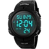 Readeel Simple Sport Watch Display Watch Outdoor Men Watch Student Multifunction Digital Watch,Black