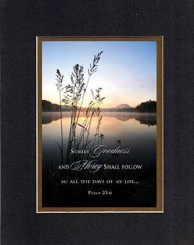Goodness And Mercy - Psalm 23:6. . . 8 X 10 Inches Biblical/Religious Verses Set In Double Beveled Matting (Black On Gold) - A Timeless And Priceless Poetry Keepsake Collection