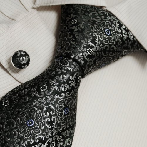 Black Pattern Tie for Men Grey Handmade Discount Silk Ties Cufflinks Set A1110
