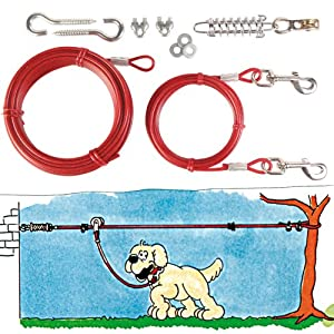 Dog Aerial Trolley With Pulley Pet Garden Tie Out Cable