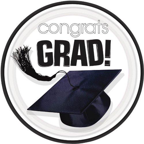 Congrats Grad White Dessert Plates, 18ct