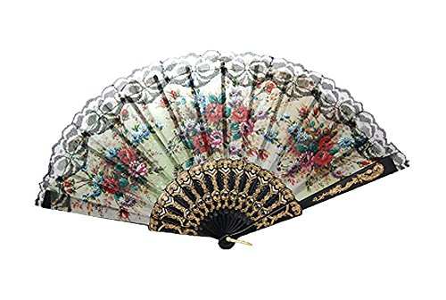 niceeshop(TM) Unique Spanish Decorative Flower Design Hand Folding Fan,Red Flower
