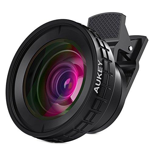 AUKEY スマホ カメラレンズキット 2in1 (10×マクロ、140°0.45×広角レンズ) セルカレンズ クリップ式 iPhone、Samsung、Sony、Android スマートフォン、タプレットなどに対応 PL-WD07