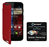 Chevron Flip Cover For Moto G 2nd Gen With Chevron HD Screen Guard (Red)