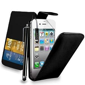 Apple iPhone 4S /4 - Premium Leather Wallet Flip Case Cover Pouch + Long Touch Stylus Pen + Mini Touch Stylus Pen + Screen Protector & Polishing Cloth (Flip Black)