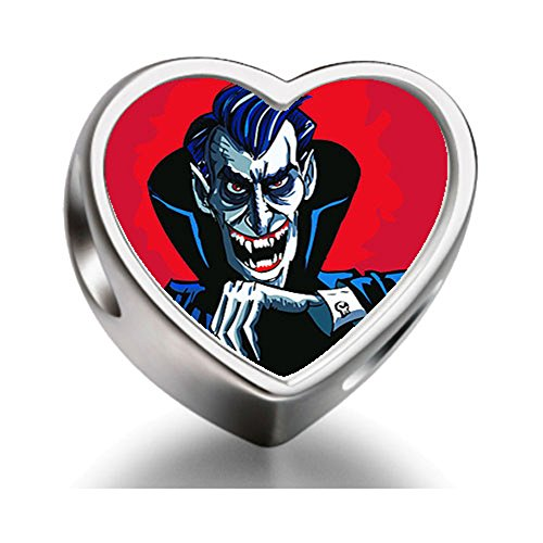 Rarelove Sterling Silver Halloween mean vampire a evil smile Heart Photo Charm Beads