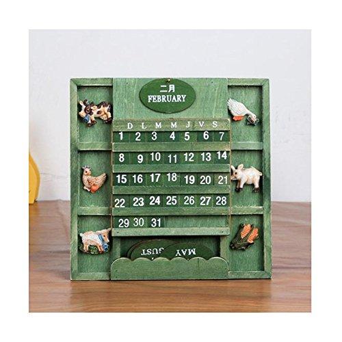 Ufine Wooden Desktop Calendar Home Office Decoration Animal Pattern Craft Advent Perpetual Calendar (green) (Perpetual Sliding Calendar compare prices)