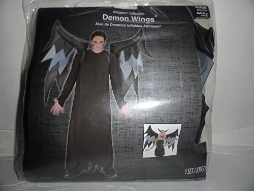 Inflatable Black Demon Wings Halloween Costume, w/ Belt Clip, Adult One Size Fits All