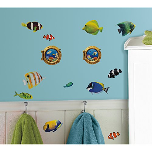 Roommates Rmk2142Scs Fish Wall Decals With Lenticular Port Hole Peel And Stick Wall Decals, 26 Count