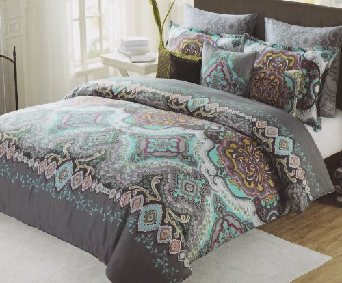 Grey And Turquoise Bedding 8570 back