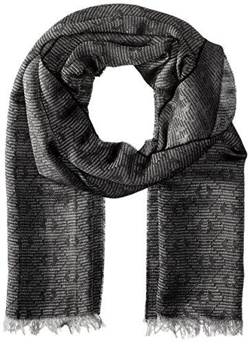 Armani Jeans sciarpa uomo in lana bicolor logo grigio