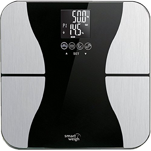 Smart Weigh Body Fat Digital Precision Scale with Tempered Glass Platform, Eight User Recognition, and 440 lb Weight Capacity, Measures Weight, Body Fat, Water, Muscle and Bone Mass