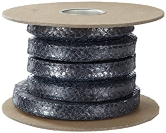 Palmetto Style 5080 Flexible Graphite Compression Packing Seal, Carbon Corners, Shiny Gray