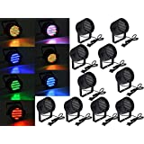 10x 86 LED RGB Stage Lights Par Disco Party Pub DJ DMX-512 Laser Projector Light