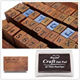 1 Set of 70pcs Vintage Style Wooden Rubber Alphabet Letters Number Stamps + 1 Brown Ink Pad