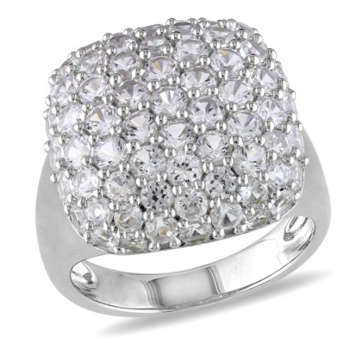 Sterling Silver Created White Sapphire Ring, Size 7