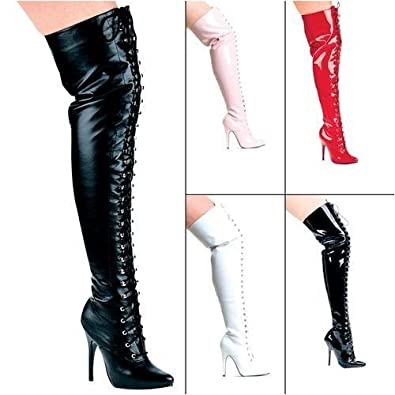 vixen 5 quot heel lace up thigh high boot size 12
