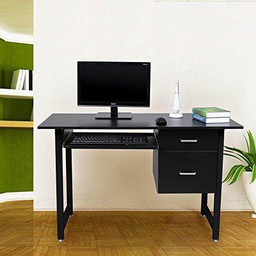 songmics 120 x 60 x 76 cm pc tisch computerschreibtisch mit tastaturauszug und schubladen. Black Bedroom Furniture Sets. Home Design Ideas