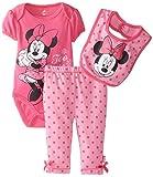 Disney Baby Baby-Girls Newborn Minnie Mouse 3 Piece Bodysuit Bib and Pant Set