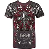 Vines and Fleur De Lis Metallic Silver Short Sleeve Crew Neck Cotton Mens Fashion T-Shirt