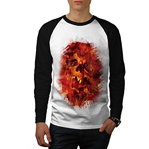Cranio Bestia Flames Inferno Anima Uomo Nuovo Bianca (Maniche Nere) XL Baseball manica lunga Maglietta | Wellcoda