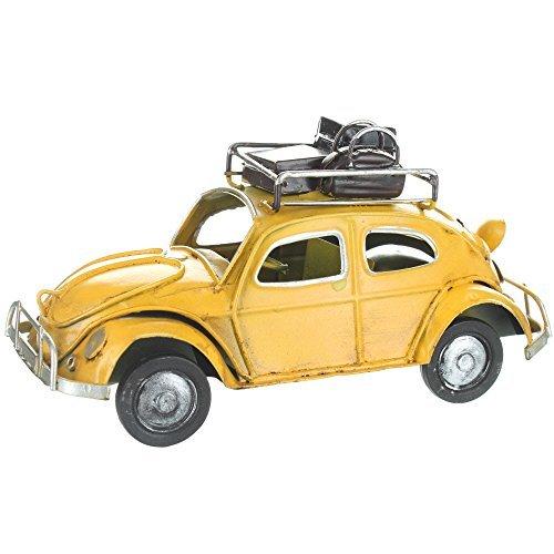 Retro VW Style Beetle With Luggage On Roof Rack - Yellow