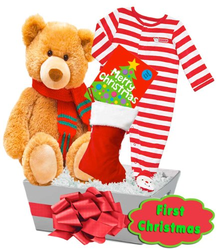 "Cuddly Baby's First Christmas Gift Basket Featuring Carter's ""First Christmas"" and Holiday Bear, Size: 6-9 mth"
